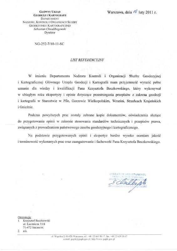 referencje g urzad geodezji Referencje Starostwo Police